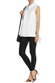 DKNY Stretch-cotton poplin and stretch-silk georgette top