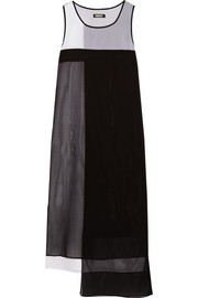 DKNY Color-block stretch-silk midi dress