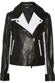 DKNY Convertible leather and stretch-tech jersey biker jacket