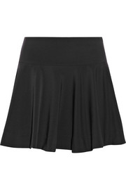 DKNY Flared sateen-jersey mini skirt
