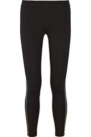 Leather-trimmed ponte leggings