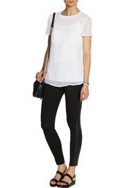 DKNY Leather-trimmed ponte leggings