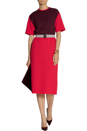 Victoria, Victoria Beckham Color-block wool-crepe dress