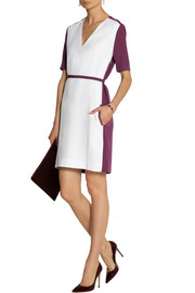 Victoria, Victoria Beckham Belted color-block crepe dress