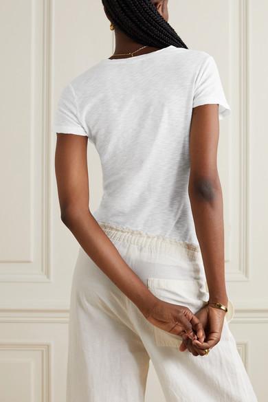 James Perse Casual T-Shirt aus Baumwolle mit Flammgarneffekt