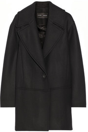 Wool-blend twill coat