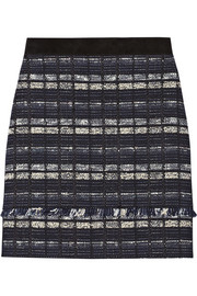 Proenza Schouler Suede-trimmed tweed mini skirt