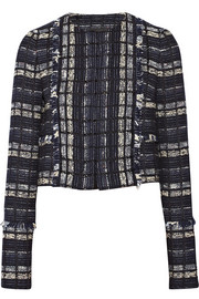 Proenza Schouler Cropped suede-trimmed tweed jacket