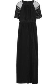 ALICE by Temperley Everette tulle-paneled silk crepe de chine maxi dress