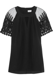 ALICE by Temperley Everette tulle-paneled silk crepe de chine top