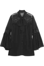ALICE by Temperley Fleur lace-paneled georgette blouse