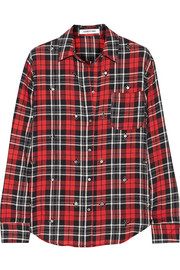Elizabeth and James Carine embellished plaid cotton-blend shirt