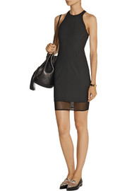 Elizabeth and James Parker mesh-paneled stretch-ponte mini dress