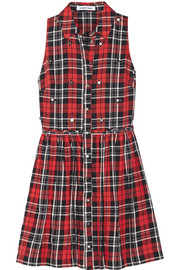 Elizabeth and James Beau embellished plaid cotton-blend mini dress