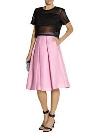 Tibi Simona pleated piqué skirt