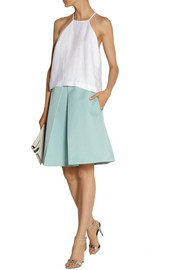 Tibi Katia cotton and silk-blend faille skirt