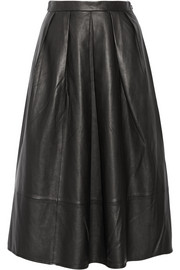 Tibi Pleated leather midi skirt