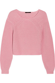 Tibi Ribbed-knit cotton sweater