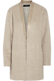 Tibi Leather-trimmed textured-knit coat