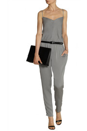 Milly Racer-back stretch-silk jumpsuit