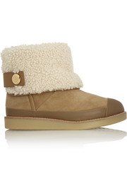 Tory Burch Margaret leather-trimmed shearling boots