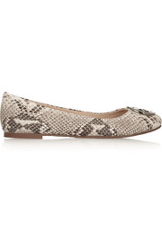 Tory Burch Reva snake-effect leather ballet flats