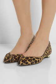 Tory Burch Nicki leopard-print calf hair point-toe flats