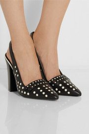 Tory Burch Kay polka-dot leather slingback pumps