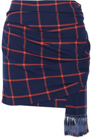 Thakoon Addition Plaid wrap-effect stretch-twill skirt