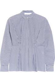 Thakoon Addition Pintucked striped cotton-poplin shirt