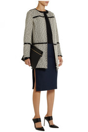 Jade reversible jacquard and patent coat