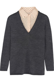 Tory Burch Lacey stretch silk-trimmed merino wool sweater