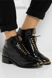 Purified Patti glossed-leather ankle boots