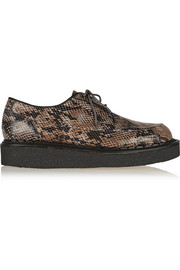 Snake-effect leather creepers