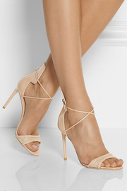 Reed Krakoff Mesh-trimmed patent-leather sandals
