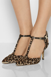 Michael Kors Silvia leopard-print calf hair T-bar pumps