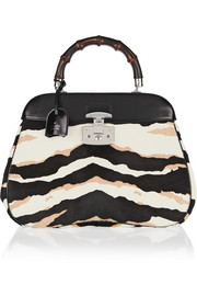 Gucci Lady Lock zebra-print calf hair and leather tote