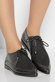 Tibi Kern nubuck and leather point-toe brogues
