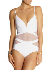 Zimmermann Georgia mesh-paneled plunge-front swimsuit