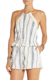 Zimmermann Hydra embroidered printed cotton playsuit