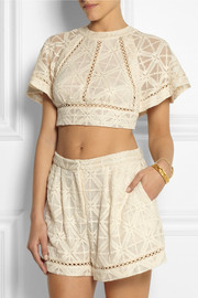 Zimmermann Haze cropped embroidered silk-georgette top