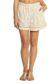Zimmermann Haze embroidered silk-georgette shorts