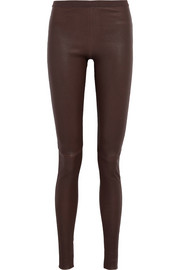 Rick Owens Stretch leather and cotton-blend leggings