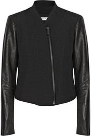 Leather-sleeved cotton and wool-blend jacket