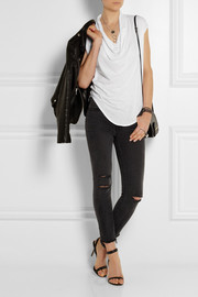 Helmut Lang Draped cotton and modal-blend jersey top