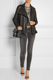 Helmut Lang Textured-leather biker jacket
