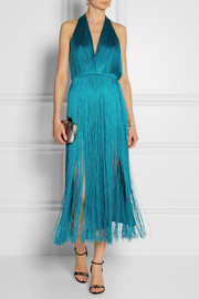 Tamara Mellon Fringed jersey halterneck dress