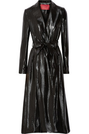 Tamara Mellon Silk-blend lamé trench coat