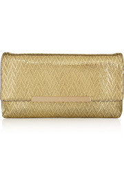 Christian Louboutin Rougissime metallic coated suede clutch