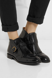 Marc Jacobs Monk-strap glossed-leather ankle boots
